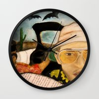 fear and loathing Wall Clocks featuring Fear & Loathing by Lindsey Pudlewski