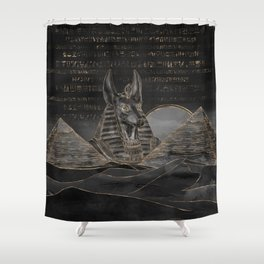 Anubis on Egyptian pyramids landscape Shower Curtain