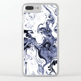 Marble Suminagashi watercolor pattern art pisces water wave ocean minimal design Clear iPhone Case
