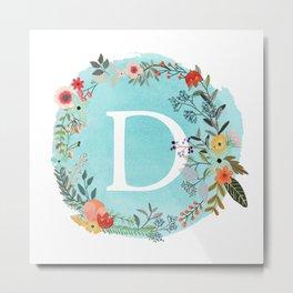 Personalized Monogram Initial Letter D Blue Watercolor Flower Wreath Artwork Metal Print