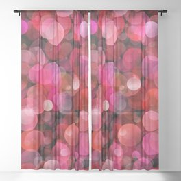 Red bubbles Sheer Curtain