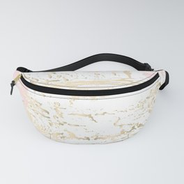 Gold blush tropical monstera leaves Fanny Pack