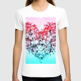 geometric square pattern heart shape abstract background in red pink blue T-shirt