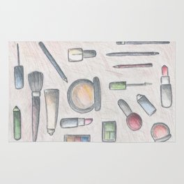 MAKE-UP - pencil and coloured pencil illustration Rug