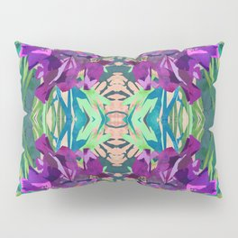 Watercolor Iris Flower with Shadows - Bright Purple & Pink Pillow Sham