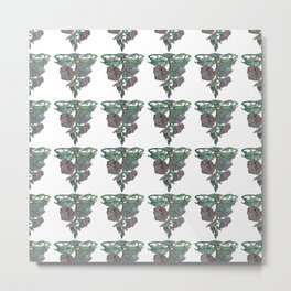 Vintage Style Morning Glory Repeat Polka Dot Pattern Metal Print