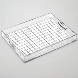 Black and White Thin Grid Graph Acrylic Tray