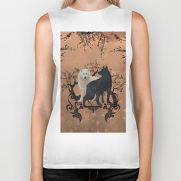 Awesome wolf in black and white Biker Tank