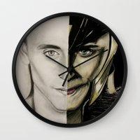 tom hiddleston Wall Clocks featuring Tom Hiddleston by Goolpia