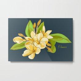 Tropical Plumeria Pattern Metal Print