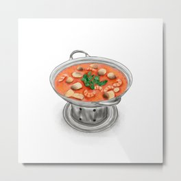 Watercolor Illustration of Thai Cuisine - Tom Yam Kung Spicy Sour Soup | 冬阴功汤 Metal Print