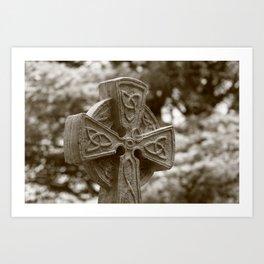 Celtic Cross in Sepia Art Print