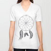 dreamcatcher V-neck T-shirts featuring Dreamcatcher by #dancingpenguin
