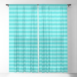 Beach Vibes, Striped Typography Summer Pattern Sheer Curtain