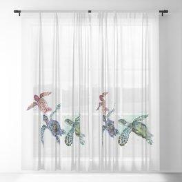 Sea Turtle Family, family art Sheer Curtain