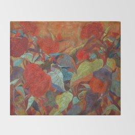 flower3【Japanese painting】 Throw Blanket