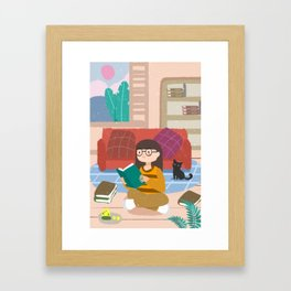 Cute Reading Girl And Cat Framed Art Print