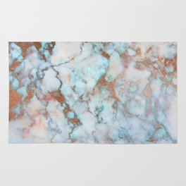 Rose Marble with Rose Gold Veins and Blue-Green Tones Rug