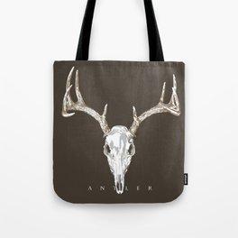 Deer Skull Antlers on Dark Dark Taupe Tote Bag