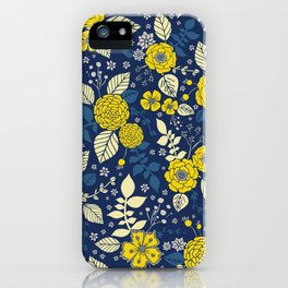 Yellow & Blue Floral Pattern iPhone Case