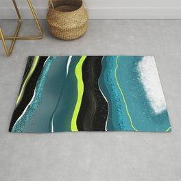 Geode pattern - aqua & lime green Rug