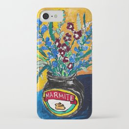 Wildflower Bouquet in Marmite Jar on Yellow and Blue iPhone Case