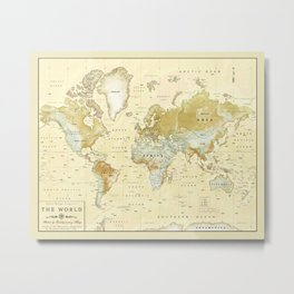 The World [Vintage] Relief Map Metal Print