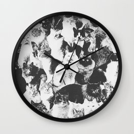 Cats Forever B&W Wall Clock