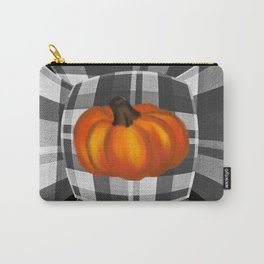 Fall Pumpkin On Gray And White Plaid Bow Design Carry-All Pouch