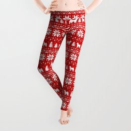 Alaskan Malamute Silhouettes Christmas Sweater Pattern Leggings