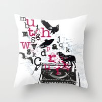 typewriter Throw Pillows featuring typewriter by Natasha79