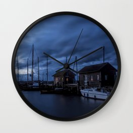 Blue memories- Blue hour at an harbour at the Sea #Society6 Wall Clock