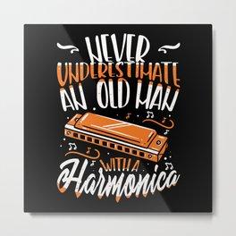 Old Man With Harmonica - Gift Metal Print