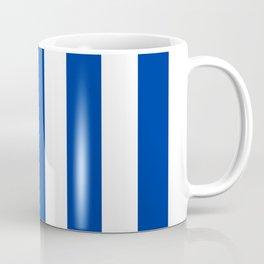 Dark powder blue - solid color - white vertical lines pattern Coffee Mug