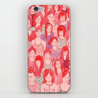 it crowd iPhone & iPod Skins featuring Girl Crowd by leah reena goren