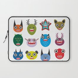 Cute cartoon Monsters Set. Big collection on white background Laptop Sleeve