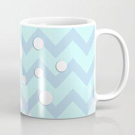 Light blue white Chevron pattern with Snowballs Coffee Mug
