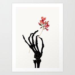 Skeleton Hand with Flower Art Print