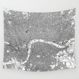 Vintage Map of London England (1862) BW Wall Tapestry