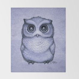 """""""The Little Owl"""" by Amber Marine ~ (Lavender Bud Version) Pencil&Ink Illustration, (Copyright 2016) Throw Blanket"""