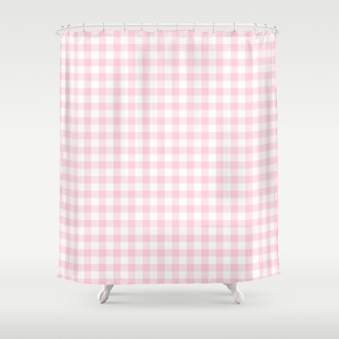 Light Soft Pastel Pink Cowgirl Buffalo Check Plaid Shower Curtain