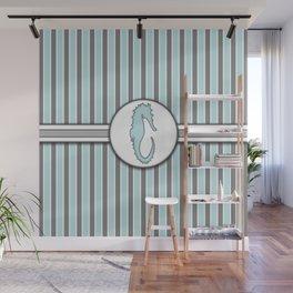 Blue Sea Horse Stripes Pattern Design Wall Mural