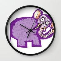 poop Wall Clocks featuring Elephant poop by Jamie Clayton