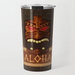 Vintage Wood Tiki Aloha Travel Mug
