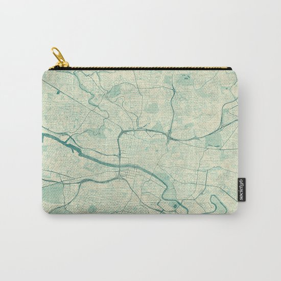Glasgow Map Blue Vintage Carry-All Pouch