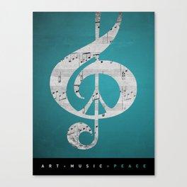 Music & Peace Aqua Sheets Canvas Print