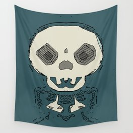 skull and bone graffiti drawing with green background Wall Tapestry