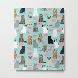 Donut Cats cute illustration fur baby animal cat portrait pet gift for cat lady must have cat breeds Metal Print