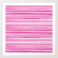 Watercolour red and pink stripes Art Print