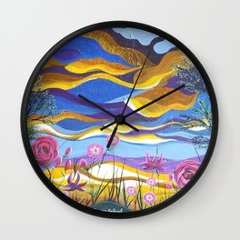 Pretty in Pink, Pink floral landscape, Abstract Landscape Wall Clock